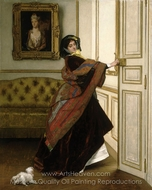 Departing for the Promenade Will You Go Out with Me, Fido painting reproduction, Alfred Stevens