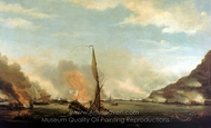 Destruction of the Floating Batteries at Gilbraltar, 13 September 1782 painting reproduction, Thomas Whitcombe