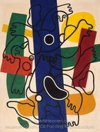 Divers, Blue and Black painting reproduction, Fernand Leger