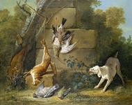 Dog Guarding Dead Game painting reproduction, Jean-Baptiste Oudry
