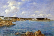 Douarnenez, the Bay, View of I'Ile Tristan painting reproduction, Eugene-Louis Boudin