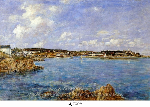 Eugene-Louis Boudin, Douarnenez, the Bay, View of I'Ile Tristan oil painting reproduction