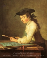 Draughtsman painting reproduction, Jean Simeon Chardin