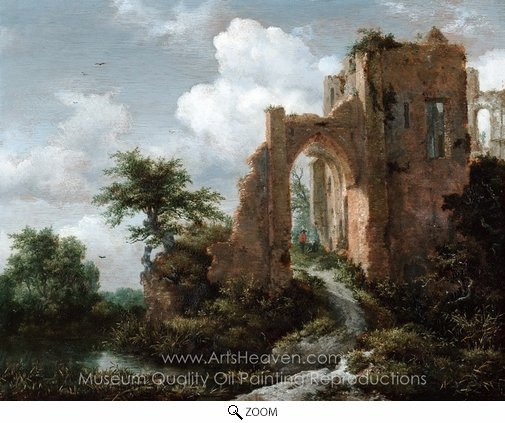Jacob Van Ruisdael, Dutch Entrance Gate of the Castle of Brederode oil painting reproduction