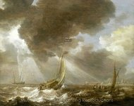 Dutch Ferry Boats in a Fresh Breeze painting reproduction, Bonaventure Peeters