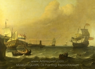 Dutch Men-of-War entering a Mediterranean Port painting reproduction, Ludolf Backhuysen
