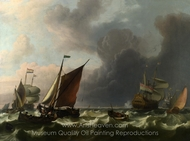 Dutch Men-of-War off Enkhuizen painting reproduction, Ludolf Backhuysen
