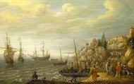 Dutch Ships at Anchor off a Fortified Scandinavian Town painting reproduction, Adam Willaerts