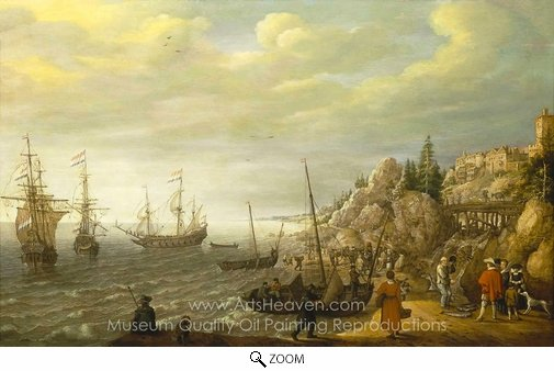 Adam Willaerts, Dutch Ships at Anchor off a Fortified Scandinavian Town oil painting reproduction
