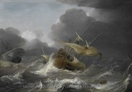 Dutch Ships in a Gale painting reproduction, Jan Porcellis