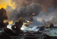 Dutch Ships in Distress off a Rocky Coast painting reproduction, Ludolf Backhuysen