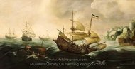 Dutch Ships Sailing off a Rocky Shore painting reproduction, Andries Van Eertvelt