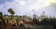 Dutch Squadron Attacking a Spanish Fortress painting reproduction, Adam Willaerts