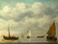 Dutch Vessels in Calm Water painting reproduction, Jan Van Os