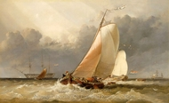 Dutch Yachting on the Zuider Zee painting reproduction, Edward William Cooke