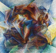 Dynamism of a Soccer Player painting reproduction, Umberto Boccioni