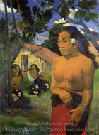 E Haere oe i Hia (Where Are You Going?) painting reproduction, Paul Gauguin
