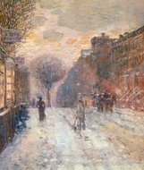 Early Evening, After Snowfall painting reproduction, Childe Hassam