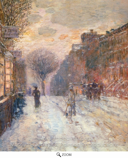 Childe Hassam, Early Evening, After Snowfall oil painting reproduction
