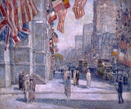 Early Morning on the Avenue in May 1917 painting reproduction, Childe Hassam