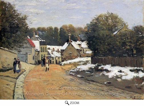 Alfred Sisley, Early Snow at Louveciennes oil painting reproduction