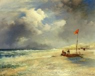 East Hampton Beach painting reproduction, Thomas Moran