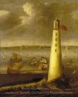 Eddystone Lighthouse painting reproduction, Isaac Sailmaker