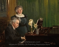 Edvard Grieg Accompanying His Wife painting reproduction, Peder Severin Kroyer