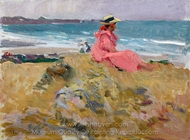 Elena en la Playa, Biarritz painting reproduction, Joaquin Sorolla