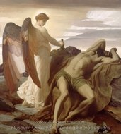 Elijah in the Wilderness painting reproduction, Lord Frederic Leighton