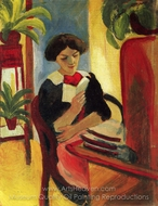 Elizabeth Reading painting reproduction, August Macke