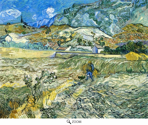 Vincent Van Gogh, Enclosed Field with Peasant oil painting reproduction