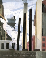 End of the Parade, Coatesville painting reproduction, Charles Demuth