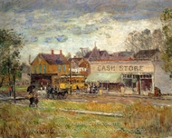 End of the Trolley Line, Oak Park, Illinois painting reproduction, Childe Hassam