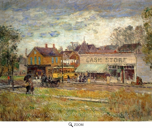 Childe Hassam, End of the Trolley Line, Oak Park, Illinois oil painting reproduction