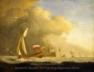 English Royal Yachts at Sea, in a Strong Wind in Company with a Ship Flying the Royal Standard painting reproduction, Willem Van De Velde
