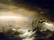 English Ships in a Storm painting reproduction, Johan Van Der Hagen