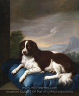English Springer Spaniel on a Cushion painting reproduction, Sawrey Gilpin
