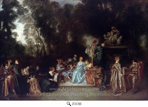 Jean Antoine Watteau, Entertainment in the Open Air oil painting reproduction