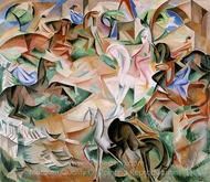 Equestrian Fantasy with Pink Lady painting reproduction, Alice Bailly