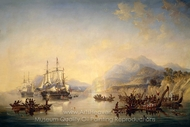 Erebus and the Terror in New Zealand, August 1841 painting reproduction, John Wilson Carmichael