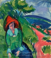 Erna at the Sea, Fehmarn painting reproduction, Ernst Ludwig Kirchner