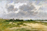 Etaples, les Bords de la Canche painting reproduction, Eugene-Louis Boudin