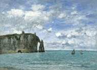 Etretat, The Cliff of Aval painting reproduction, Eugene-Louis Boudin