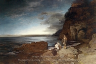 Evening at the Coast painting reproduction, Oswald Achenbach
