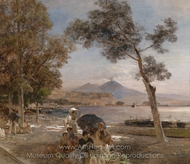 Evening at the Gulf of Naples painting reproduction, Oswald Achenbach