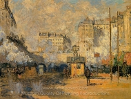 Exterior of Saint-Lazare Station, Sunlight Effect painting reproduction, Claude Monet