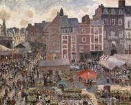 Fair on a Sunny Afternoon, Dieppe painting reproduction, Camille Pissarro