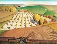 Fall Plowing painting reproduction, Grant Wood