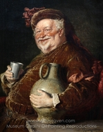 Falstaff at the Table with Wine Jug and Pewter Mug painting reproduction, Eduard Von Grutzner